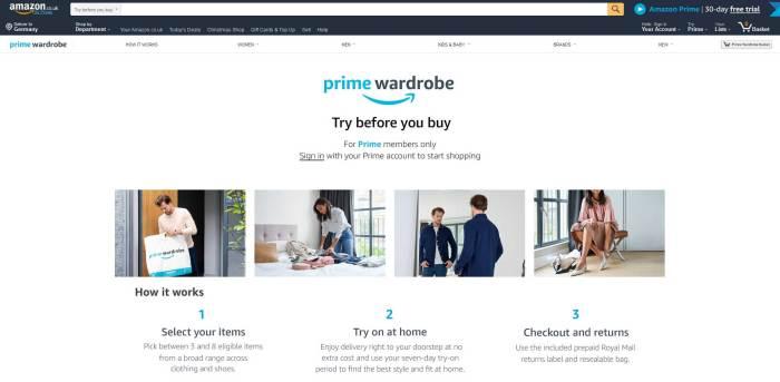 Amazon Prime Wardrobe UK