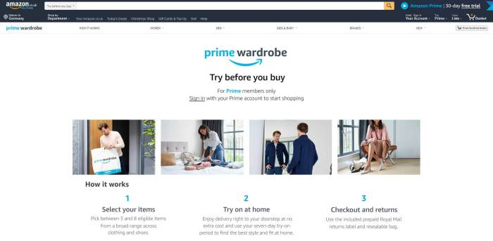 Amazon Prime Wardrobe UK